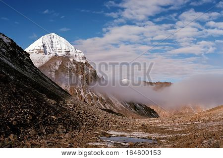 Morning view to the East Face of sacred Mount Kailash in Tibet.