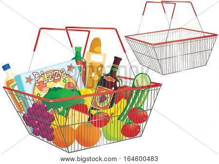 Two illustrations of a typical wire shopping basket - one full of goods, and the other empty.