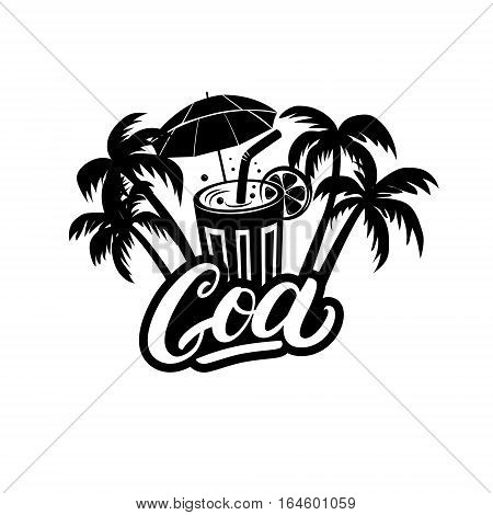 Goa hand written lettering with palms and cocktails. India vector illustration. Isolated on white background.