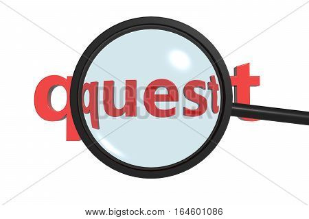 quest A magnifying glass shows the search on the Internet or elsewhere 3d illustration