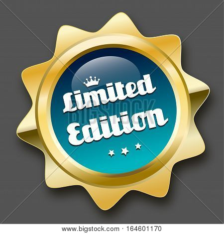 Limited edition seal or icon with crown symbol. Glossy golden seal or button with stars and turquoise color.