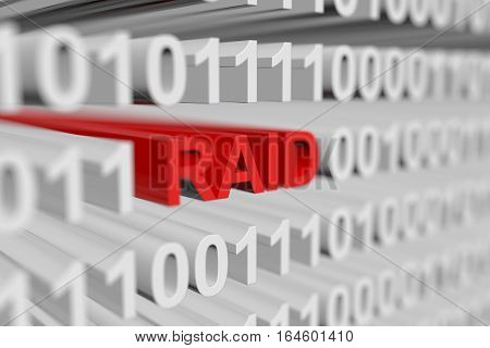 RAID as a binary code with blurred background 3D illustration