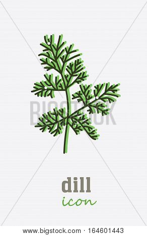 Dill vector icon. Vegetable green leaves. Greenery. Culinary herb spice for cooking, medical, gardening design. Organic product flavor ingredient for label, sign, illustration