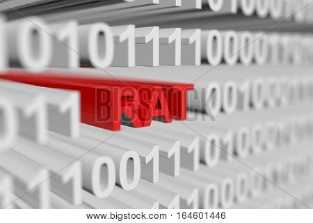 RAT as a binary code with blurred background 3D illustration