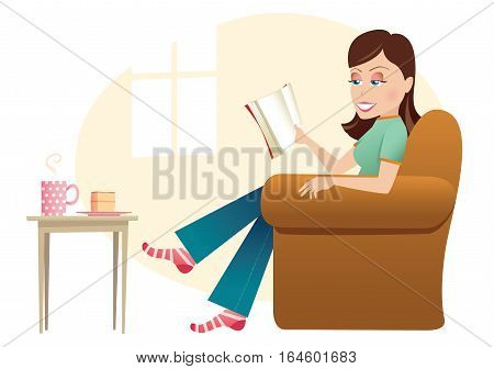 An illustration of a young woman reading a book in a chair at home.