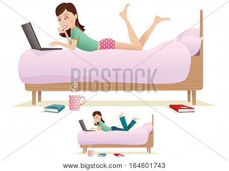 An illustration of a young woman laying on her bed using a laptop,