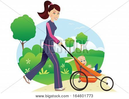 A young mother running through the park with her baby in a stroller.