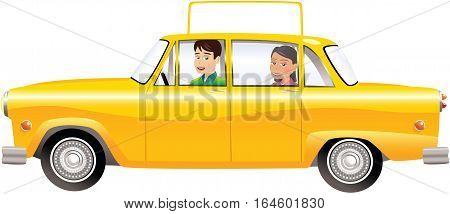 An image of an old fashioned yellow taxi cab with a large blank sign on the roof, ready for your own message.