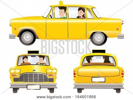 An old fashioned taxi cab with driver and passenger, in three views.