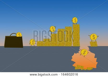 Business concept every investment has risks financial hole with coins falling in.