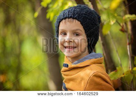 Autumn Portrait Of Beautiful Boy In The Park
