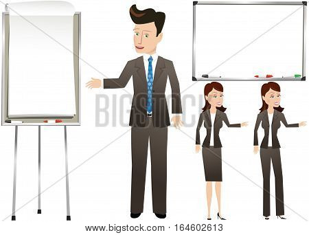 An image of business people gesturing to blank wall mounted whiteboard and free standing flip chart.