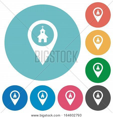 Church GPS map location icons in color glass sphere buttons with shadows