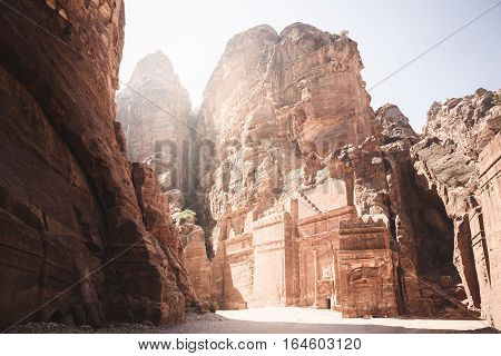 The Street of Facades in Petra Jordan in the morning light