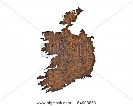 Map Of Ireland On Rusty Metal