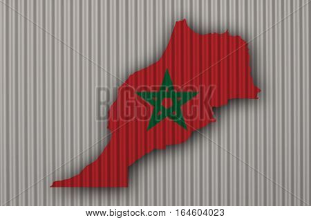 Map And Flag Of Morocco On Corrugated Iron