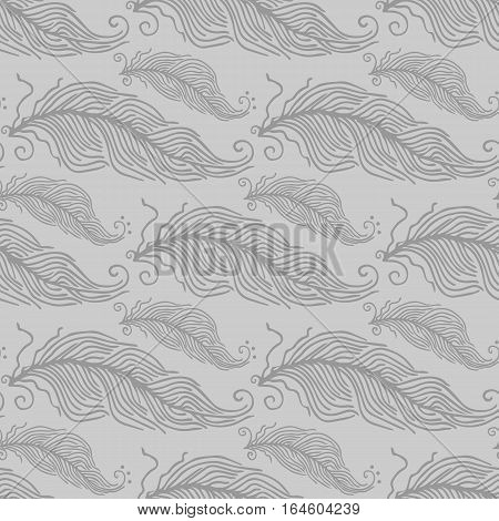 Vector Black and White Feather Pattern. Seamless classical texture with elegant sketch hand painted feathers