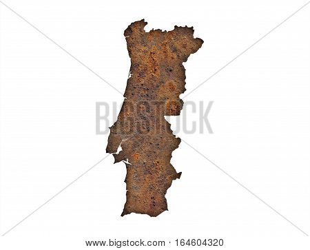 Map Of Portugal On Rusty Metal