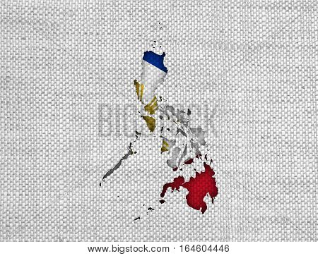 Map And Flag Of The Philippines On Old Linen