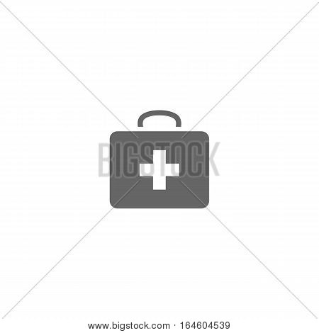 Grey medical bag icon isolated on a white backgorund.