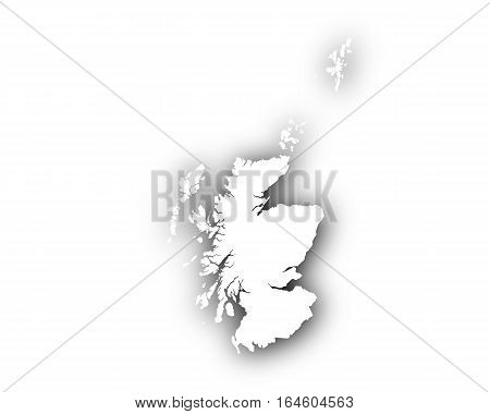 Map Of Scotland With Shadow