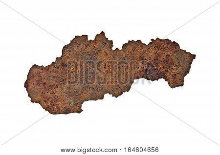 Map Of Slovakia On Rusty Metal