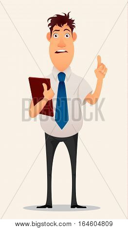 Businessman office worker. Modern creative young man with a folder in his hands lifts finger upwards having an idea. Eureka. Cartoon cute design. Flat style. Isolated on white background.