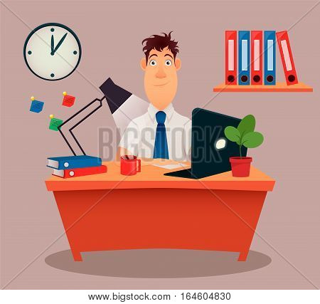 Businessman office worker. Modern creative young man sitting at the table working with a laptop. Cartoon cute design. Flat style. Colorful vector illustration.