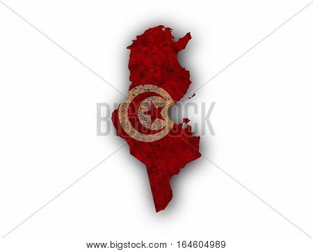 Map And Flag Of Tunisia On Rusty Metal