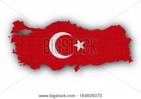 Map And Flag Of Turkey On Old Linen