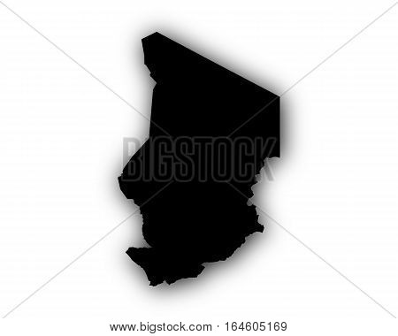 Map Of Chad With Shadow