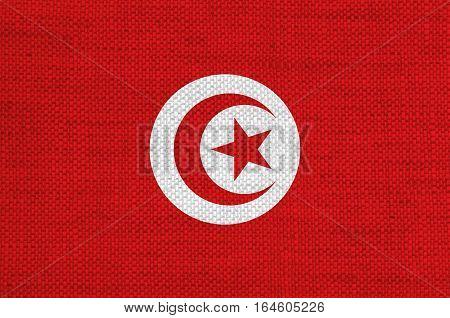 Flag Of Tunisia On Old Linen