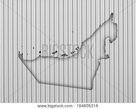 Map Of United Arab Emirates On Corrugated Iron