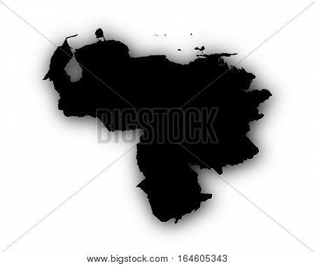Map Of Venezuela With Shadow