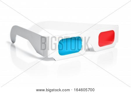 paper 3d glasses isolated on a white background.