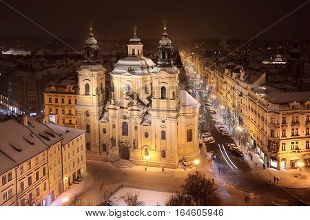 St. Nicholas' church. View of Old Town's Square in Prague in winter time.