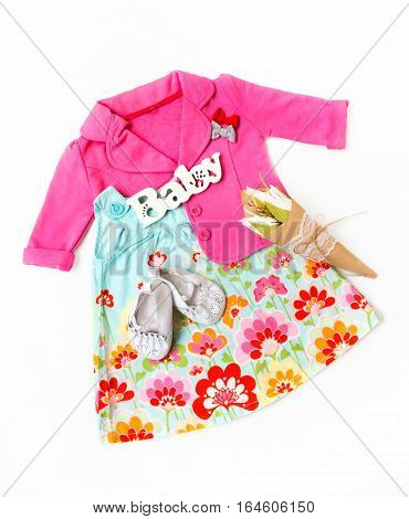 Set Of Clothes For The Little Girl. Pink Jacket, Dress, Booties.