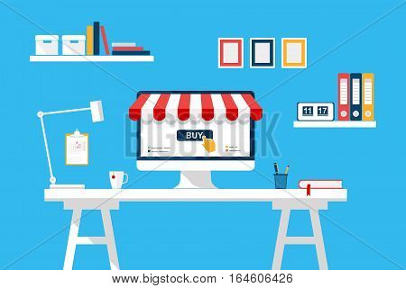 Online shopping concept. Desktop with computer screen buy, table, home interior. Digital Marketing, store, Ecommerce, e-shop. Striped awning. Vector cartoon flat illustration for web, mobile app
