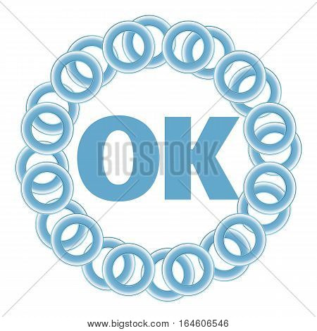 Ok text written over blue random circular background.