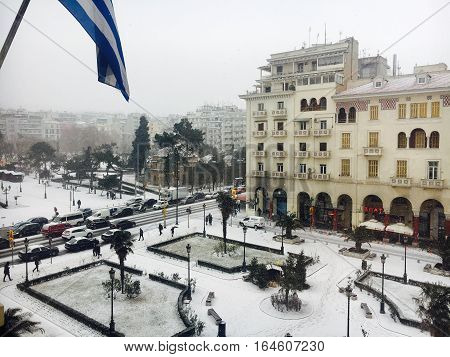 Thessaloniki, Greece - January 10 2016 snowfall. Snowing at Aristotelous main square.