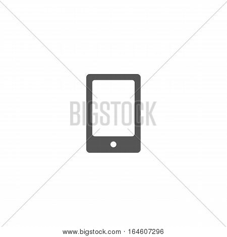 Grey mobile phone icon isolated on a white background.