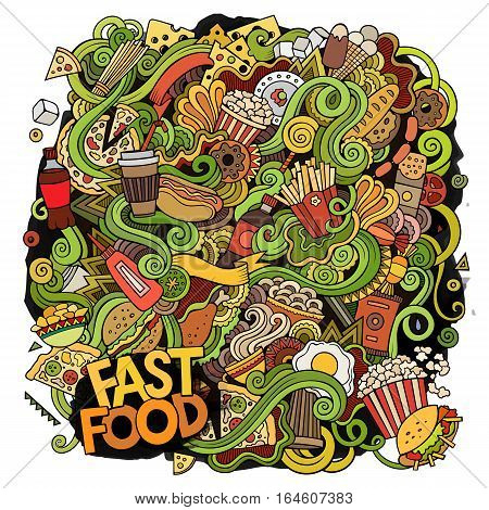 Cartoon cute doodles hand drawn Fastfood illustration. Colorful detailed, with lots of objects background. Funny vector artwork. Bright colors picture with fast food theme items