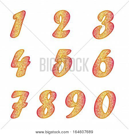 Standard set of numbers. Bright vector collection in yellow color with red spangle. Can be used as a design element, independent project, in web draft, etc. Isolated on white background. Square