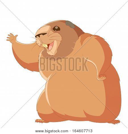 Vector image of the Happy cartoon groundhog