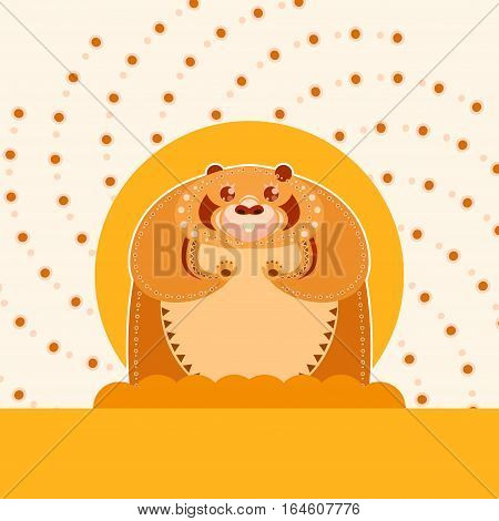 Vector image of the Happy colourfull groundhog