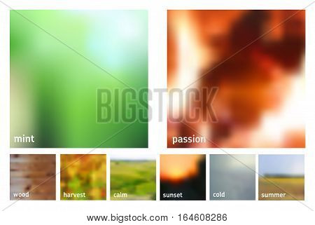 Set of 8 square blurred nature backgrounds. Sunset and sunrise sea blurred background. Abstract color vector backgrounds
