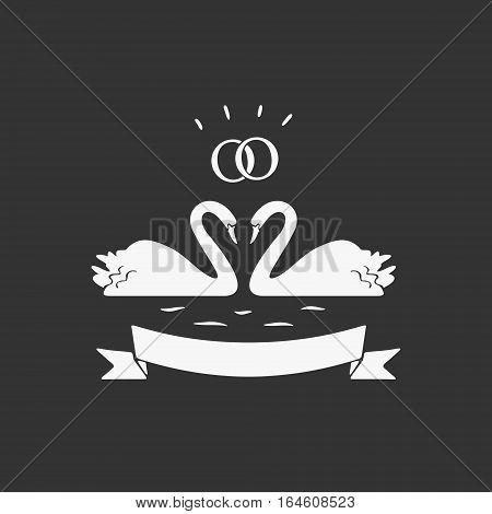 Swans Wedding Emblem Vector eps 8 file format