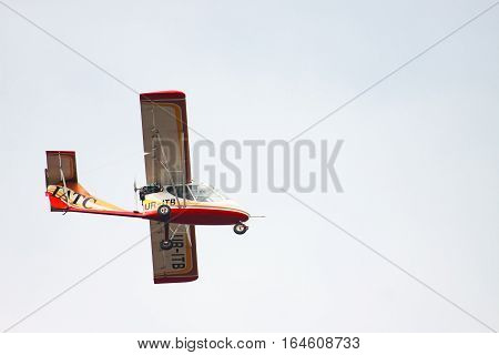 Bila Tserkva Ukraine. April 11 2016 Flights to ultralight plane training on piloting sport small airplane. Experimental aircraft