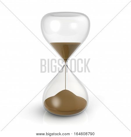 Hourglass on isolated white background 3D rendering