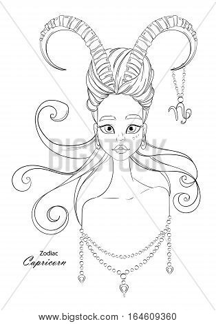 Capricorn zodiac sign as a beautiful girl with decorative ornaments. Line vector illustration.